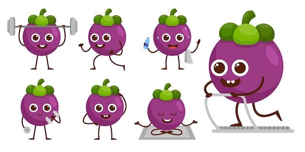 Bundelset van fruit in stripfiguur mascotte, leuke sportman in verschilactiviteit en uitrusting, platte ontwerpillustratie