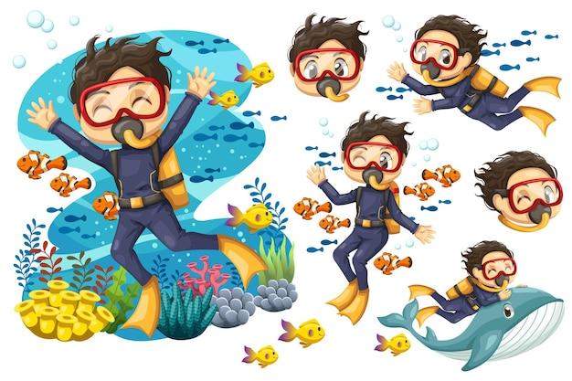 Bundelset van jonge man in pak duiker met masker duikt onder de zee