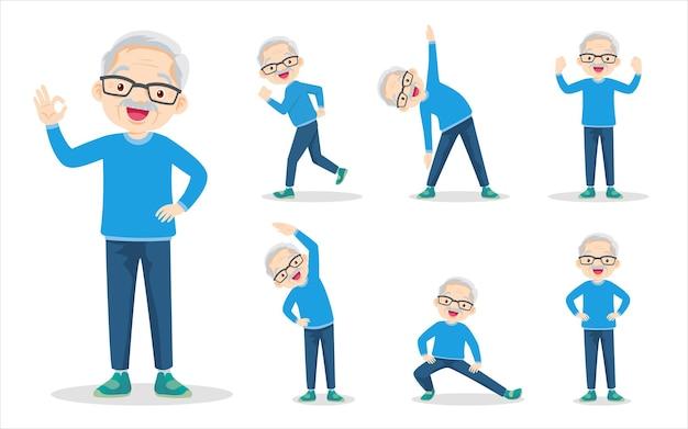 Bundelset van oudere man die verschillende acties uitoefent, grootvader beweegt het lichaam gezond