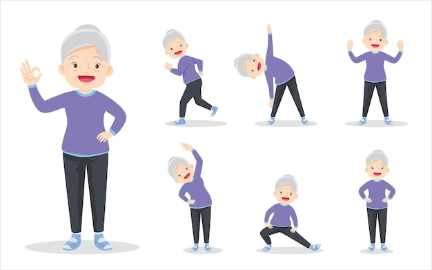 Bundelset van slimme oudere vrouw bij het uitoefenen van verschillende acties