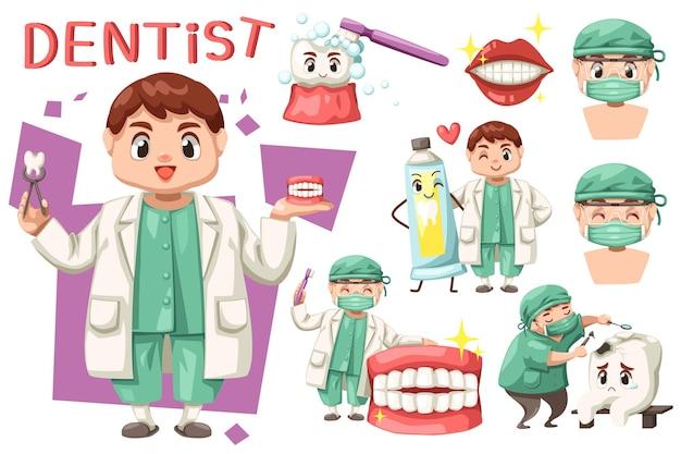 Bundelset van tandarts man met tandheelkundige zorg in stripfiguur
