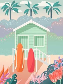 Bungalow op een strand met surfplanken op het dek. palmbomen op de achtergrond en florale decoratie. zomerhuis op het zand, exotische tropische scène. colofrul vectorillustratie.