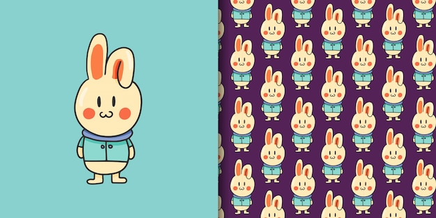 Bunny cartoon hand getekende stijl