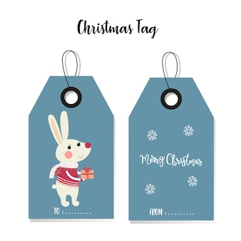 Bunny christmas tag card