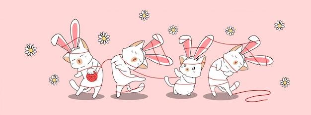 Bunny kat tekens in de lentedag