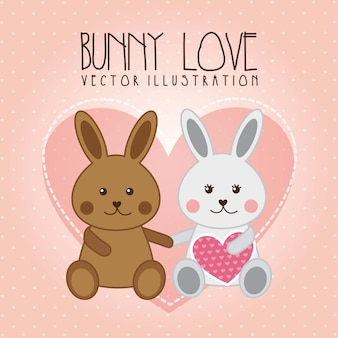 Bunny liefde illustratie over roze achtergrond vectorillustratie