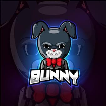 Bunny mascotte esport logo ontwerp