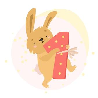 Bunny met het nummer 1