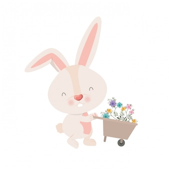 Bunny met kruiwagen en bloemen geïsoleerde pictogram