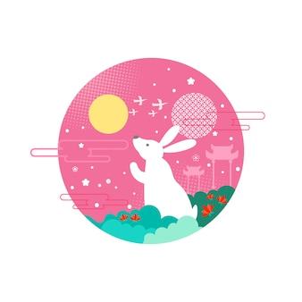 Bunny mid autumn festival vector illustration