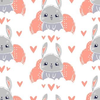 Bunny schattig cartoon karakter kinderachtig naadloos patroon.