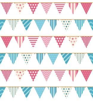 Bunting naadloos patroon, bunting achtergrond, roze en blauwe bunting