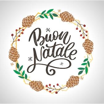 Buon natale. merry christmas kalligrafie sjabloon in het italiaans. wenskaart zwarte typografie op wit. illustratie handgetekende letters.