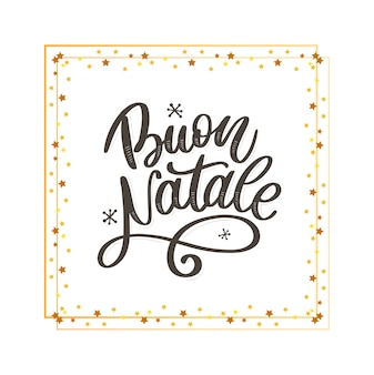 Buon natale. merry christmas kalligrafie sjabloon in het italiaans. wenskaart zwarte typografie op witte achtergrond. illustratie handgetekende letters.