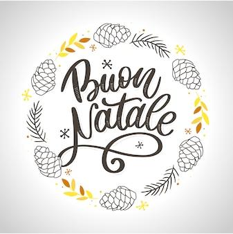 Buon natale. merry christmas kalligrafie sjabloon in het italiaans. wenskaart zwarte typografie