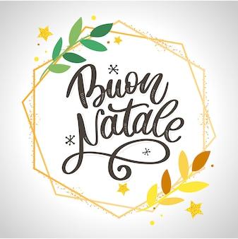 Buon natale. merry christmas kalligrafie sjabloon in het italiaans