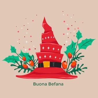 Buona befana betekent een gelukkige epiphany-kersttraditie in italië