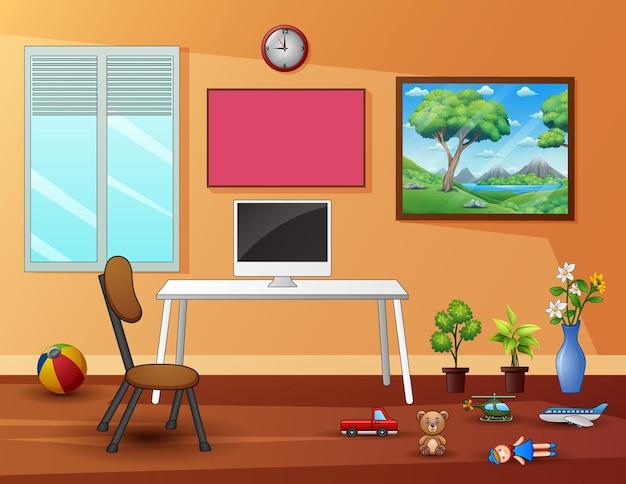 Bureau aan huis met kinderspeelgoed verspreid over de vloer