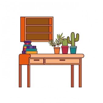 Bureau en rekken met stapel boeken