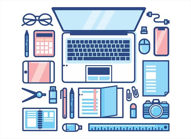 Bureau in lijn kunst stijl vlakke afbeelding vector