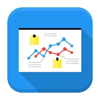 Bureau met data app icoon met lange schaduw. plat gestileerd vierkant app-pictogram met lange schaduw