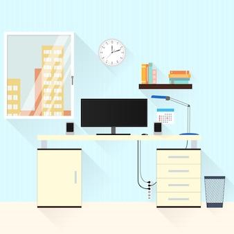 Bureau met lamp, raam en computer thuis. zakelijke kamer freelancer. een platte stijl. werkplek. het interieur van het huis. de houten tafel. vector illustratie.