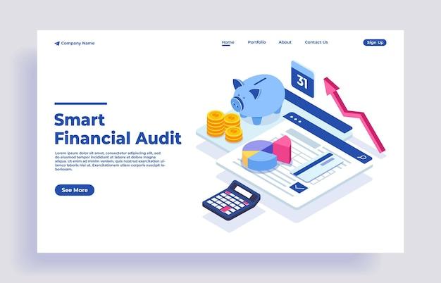 Bureau met spaarvarkengeld en zakelijke documenten voor financiële controle