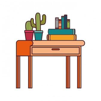 Bureau met stapel boeken