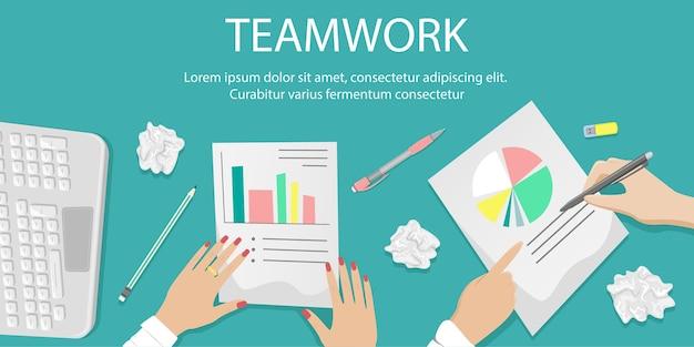 Bureau met teamwerk op papierwerk. stapels papieren, documenten. kantoor concept. cartoon illustratie.
