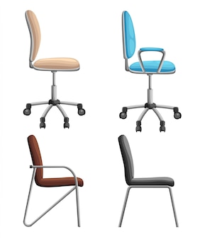 Bureau- of bureaustoel vanuit verschillende gezichtspunten. fauteuil of kruk voor, achter, zijhoeken. corporate castor meubelen platte pictogram ontwerp. illustratie.