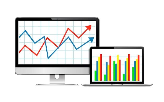 Bureaucomputer en moderne laptop met financiële grafiek en grafiek