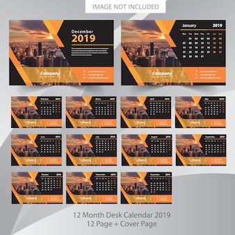 Bureaukalender 2019 plannersjabloon