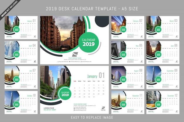 Bureaukalender 2019-sjabloon a5-formaat