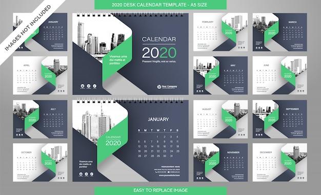 Bureaukalender 2020-sjabloon alle maanden inbegrepen