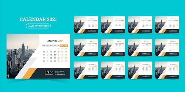 Bureaukalender 2021 ontwerpsjabloon set van 12 maanden, week begint maandag,
