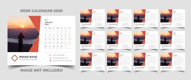 Bureaukalender sjabloon 2020