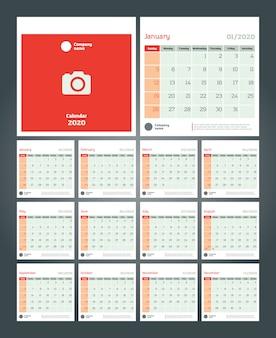 Bureaukalender voor 2020