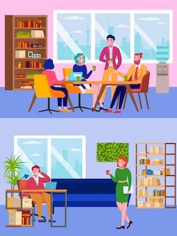 Bureaumensen, teamwerk en koffiepauze op het werk, man en vrouw die in team werken, bedrijfsanalyse, strategieillustratie. zakelijke bijeenkomst op het kantoor van het bedrijf.