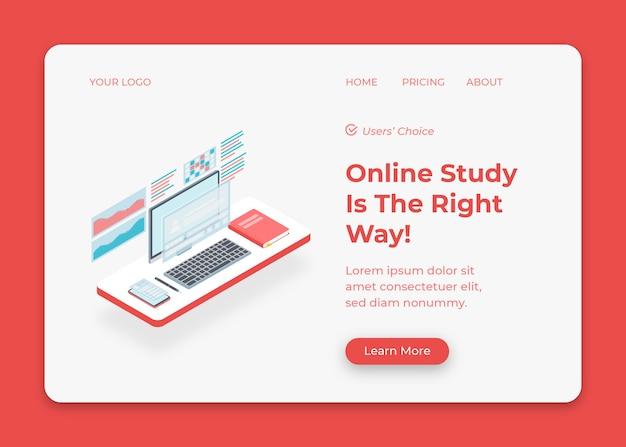 Bureauopstelling voor online studie vanuit huis illustratie
