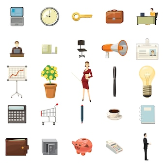 Bureaupictogrammen in beeldverhaalstijl worden geplaatst op een witte achtergrond die