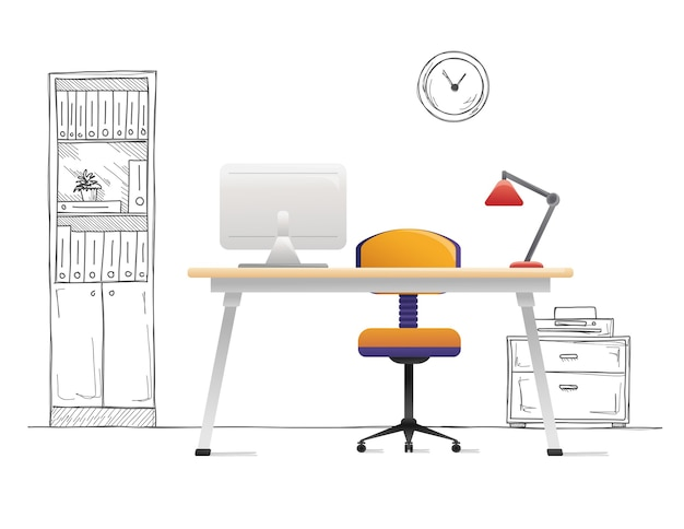 Bureaustoel, bureau, diverse voorwerpen op tafel. werkruimte in stijl. illustratie