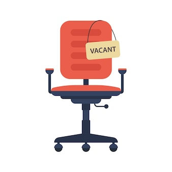 Bureaustoel met leeg bord