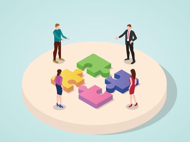 Bureauteam die het concept van het het raadselelement van de samenwerkingsverbinding zaken met isometrische 3d moderne vlakke beeldverhaalstijl samenwerken