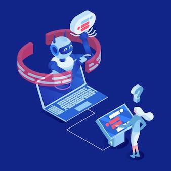 Bureauwerknemer die met het digitale karakter van het vertonings 3d beeldverhaal werken
