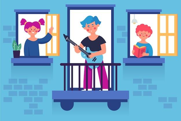 Buren brengen tijd door op hun ramen en balkons