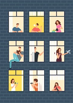 Buren cartoon mensen in flatgebouw ramen