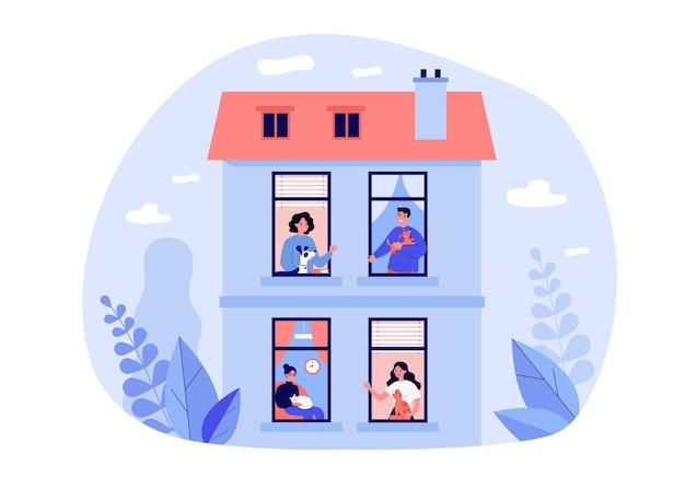 Buren die huisdieren in hun flat houden