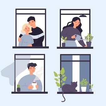 Buren en katten leven door openstaande ramen