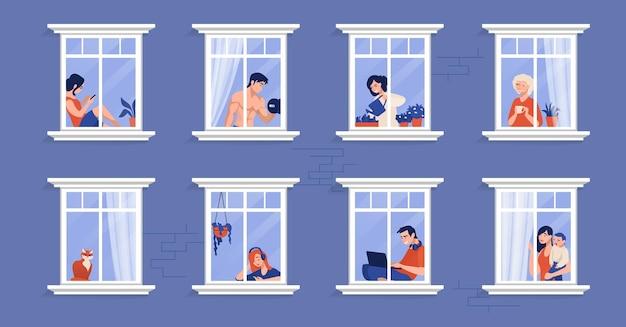 Buren in appartement. mensen in ramen die thee drinken, tv kijken, een kat aaien en tijd thuis doorbrengen. vector cartoon afbeelding personen in huis, illustraties geïsoleerde karakters