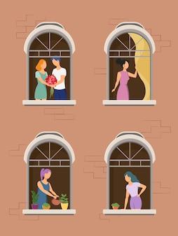 Buren in raam. buurtrelatiecommunicatie. de buren van een flatgebouw